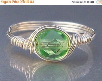 25% Off Sale Celery Czech Glass Argentium Sterling Silver OR 14k Gold Filled Wire Wrapped Ring