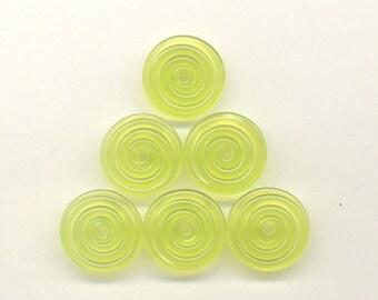 16mm range, Tom's lampwork transparent chartreuse 2 disc spacer/drop set, 1 pair 95772