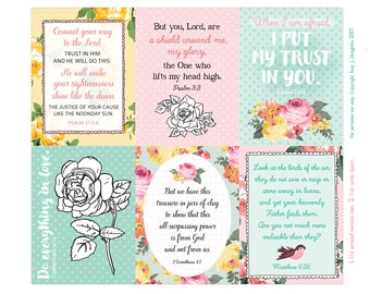 Printable Roses Scripture Journal cards/inserts -Digital File Instant Download- Planner Inserts, Project Life, tags, bible journaling