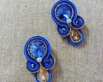 Blue earrings, soutache earrings, embroidered earrings, crystals earrings, boho blue earrings, sicily earrings, fashion design jewelry
