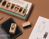 Taiwan Black Bear Wood Rubber Stamp Set of 8 for journaling, techo planner deco, packaging, tags, cars making, gift decoration