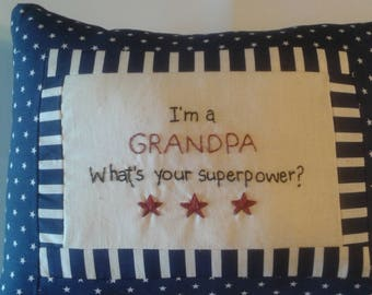 Grandpa superhero pillow