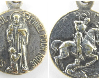 RARE French Saint George - Saint Marcoul Catholic Medal - Patron Saint of Skin Disease - St George Slaying Dragon - Religious Jewelry 0546