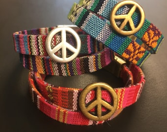 Wrap Bracelet - Tribal Wrap Bracelet - Ethnic Woven Wrap Bracelet - Multicolor Friendship Bracelet - Double Wrap Bracelet - Peace Charm