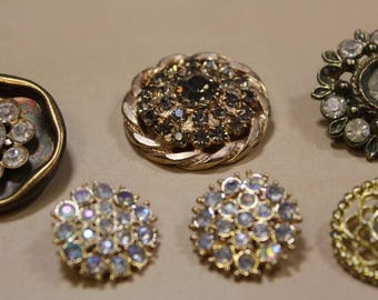Vintage Gold Color Metal Rhinestone Buttons Filigree Button