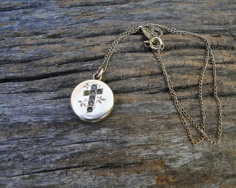 Victorian Carter, Qvarnstrom and Remington Cross Locket with Paste Stones