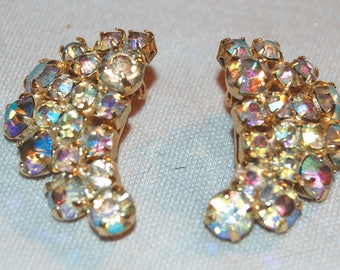 Rhinestone Earrings, Aurora Borealis, Clip Back, Vintage old jewelry