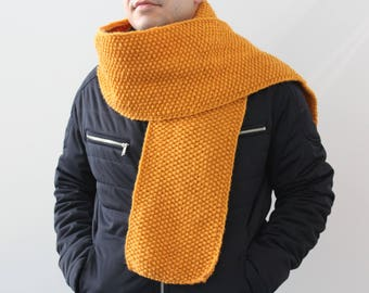 NEW Mustard yellow scarf, Mens knit scarf, Man scarf,  knitted scarf for men