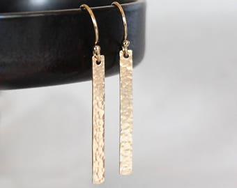 Hammered Thin Bar Earrings, Minimalist Earrings, Line Earrings, Gold Filled Everyday Skinny Bar Earrings