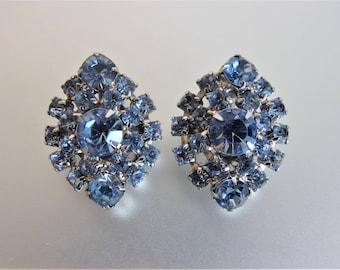 Pretty Vintage Blue Rhinestone Earrings