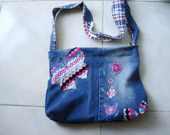 Small Denim bag, Butterfly Purse  Small shoulder bag