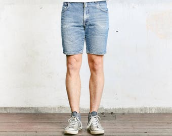"Denim Shorts . Vintage 90s Faded Jeans Shorts Summer Pants Worn In Size 32"" Jeans Stonewashed Blue Denim"