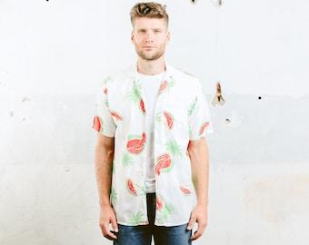 Mens Summer Shirt . Vintage 60s Watermelon Print Shirt White Shirt Pattern Shirt Button Down Hawaiian Short Sleeve Beach Shirt . size Large