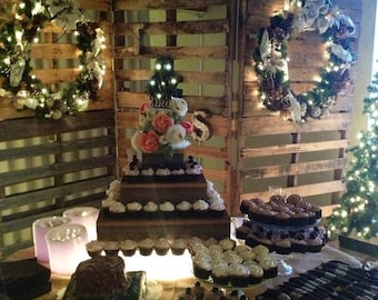 PICK ME SALE Rustic Cupcake stand , wedding decorations, wedding reception ,  3 Tier Cake Stand , Barn wood country wedding , outdoor weddin