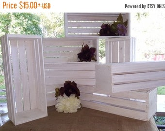 PICK ME SALE white wedding / wedding centerpiece , white wash wooden crates , wedding decor , wedding reception , mason jar holder , table c