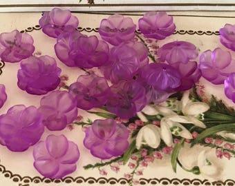 Ultra violet flowers, Vintage Flower Beads, Lucite Flowers, 14mm Flowers, Purple Bead Caps, jewelry supplies, VintageRoseFindings #1216B