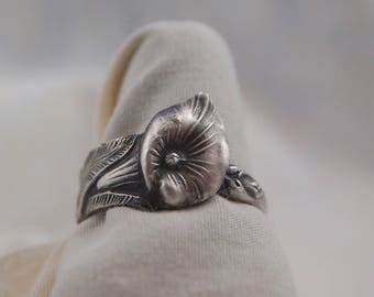 Sterling Silver Spoon Ring Size 8 1/4 Calla Lily