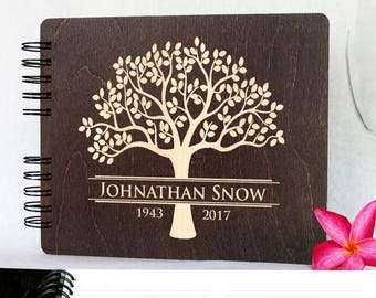 "Funeral Guest Book Personalized Wooden Memorial Guestbook 8.5x7"" Made in USA  Black Mahogany Oak Wood Hardcover Finish Celebration of Life"