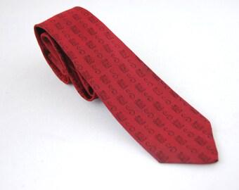 1960s Vintage Skinny Tie - Burgandy neck tie - S monogrammed - Black and Red 60s Narrow