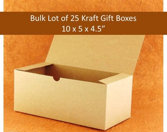 "Bulk Pack of 25 Kraft Gift Boxes 10"" x 5"" x 4"" - Rustic Boho Brown Gift Boxes for Glassware, Wedding Favors"
