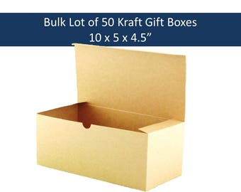 """50 Kraft Gift Boxes 10"""" x 5"""" Bulk Lot Brown Gift Boxes - Rustic Boho Brown Gift Boxes for Wedding Party Gifts, Wedding Favors"""