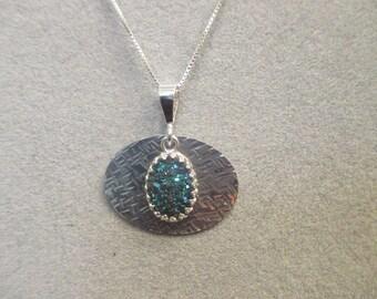 Sterling Silver Cobalt Blue Drusy Quartz Necklace
