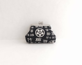 Japanese on Black Coin Purse Frame Mini Pouch Mini Jewelry Case with Ring Pillow