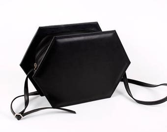 black faux leather hexagon bag vegan faux leather bag