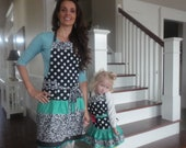 Mother Daughter Aprons - Mother's Day Gift- Black Dot and Aqua ~ Retro Modern Aprons ~ 4RetroSisters