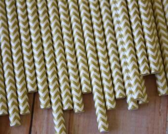 Metallic Gold paper straws - 20