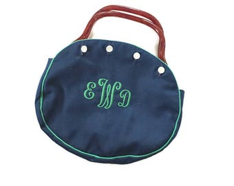 Vintage Navy Blue Bermuda BAg / Kelly Green Initial purse