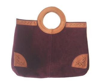 Vintage Suede Tote bag, Burgundy & camel Leather, HIppie Boho 1970s, Market bag