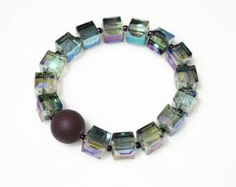 Druzy Stone Stretch Bracelet - Stretch Bracelet - Crystal Cube Bracelet - Real Druzy Stone Bracelet - Everyday Bracelet - Beaded Bracelet