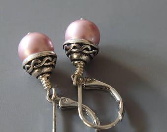 Swarovski Pearl Earrings, Dusty Rose Crystal Pearl, Everyday Earrings, Simple Earrings, Swarovski Earrings, Pink Earrings, Dainty Earrings