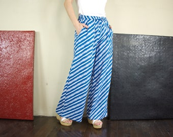 Boho Chic Comfy Blue & White Diagonal Stripe Light Cotton Wide Leg Pants With 2 Pockets And Elastic Waist
