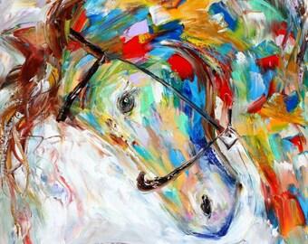Horse portrait painting in oil equine palette knife impressionism on canvas 16x20 fine art by Karen Tarlton