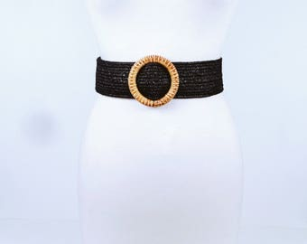 Vintage 1980s Black Stretch Belt with Large Round Wicker Buckle