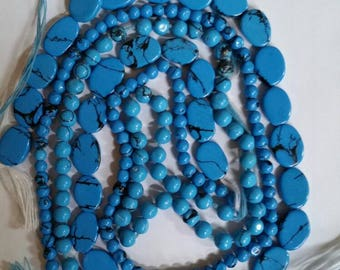 3 strands Turquoise reconstituted beads