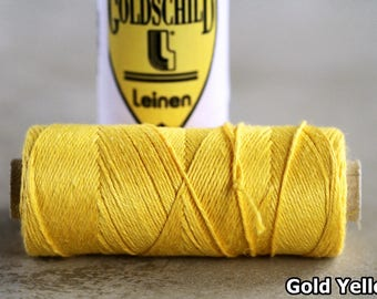 Gold Yellow Goldschild linen thread, 3-ply, Nel 18/3, 0.65mm thick, non-waxed, 1 spool 25g 90m