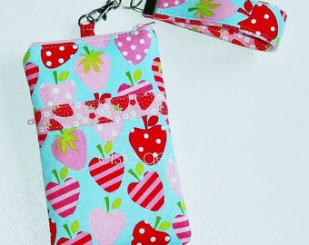 Strawberry Phone Case READY TO SHIP Aqua Pink Red  with Wristlet or iPhone 5 6 Plus Note Samsung Only One Available