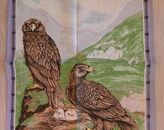 Vintage Unused LAMONT Cotton Linen Blend Tea Towel Eagle Bird