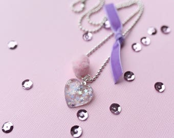 Lilac and pink confetti heart charm necklace. Girls necklace