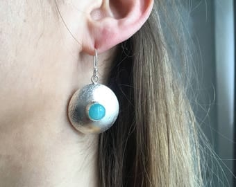 Sterling Silver Disc Earrings with Amazonite Gemstones - the Perfect Summer Earrings