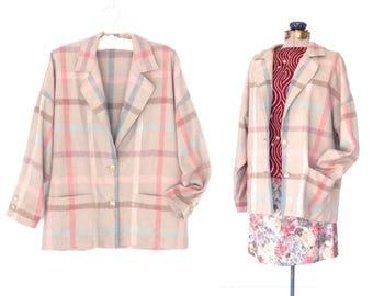Vintage Blazer Jacket * Plaid Suit Jacket * Oversized 80s Blazer * M / L