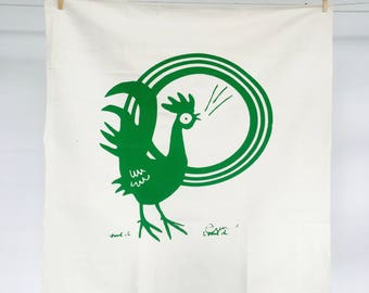 Kelly Green Rooster Tea Towel - READY TO SHIP