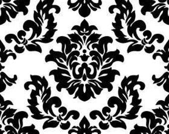 Riley Blake mystique damask in white - 1/2 yard