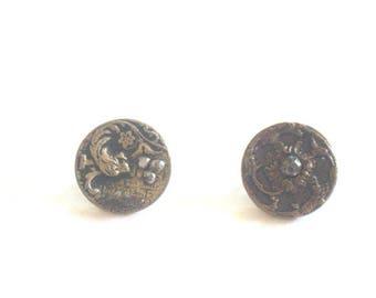 Steel Cut Buttons x 2 Victorian 1800s