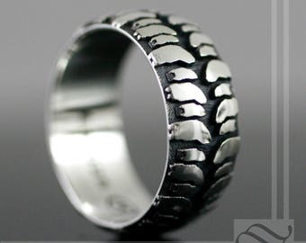 mens mud bogger tire tread wedding ring wide design - Mud Tire Wedding Rings