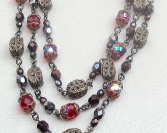 BEN AMUN Vintage Necklace 3 Strand Red Aurora Borealis Glass Beads