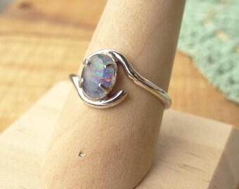 Sterling Silver Harlequin Opal Ring - Fire Opal - Oval Stone Ring - Vintage Sterling - Boho Ring - Vintage Sterling Ring - Size 8
